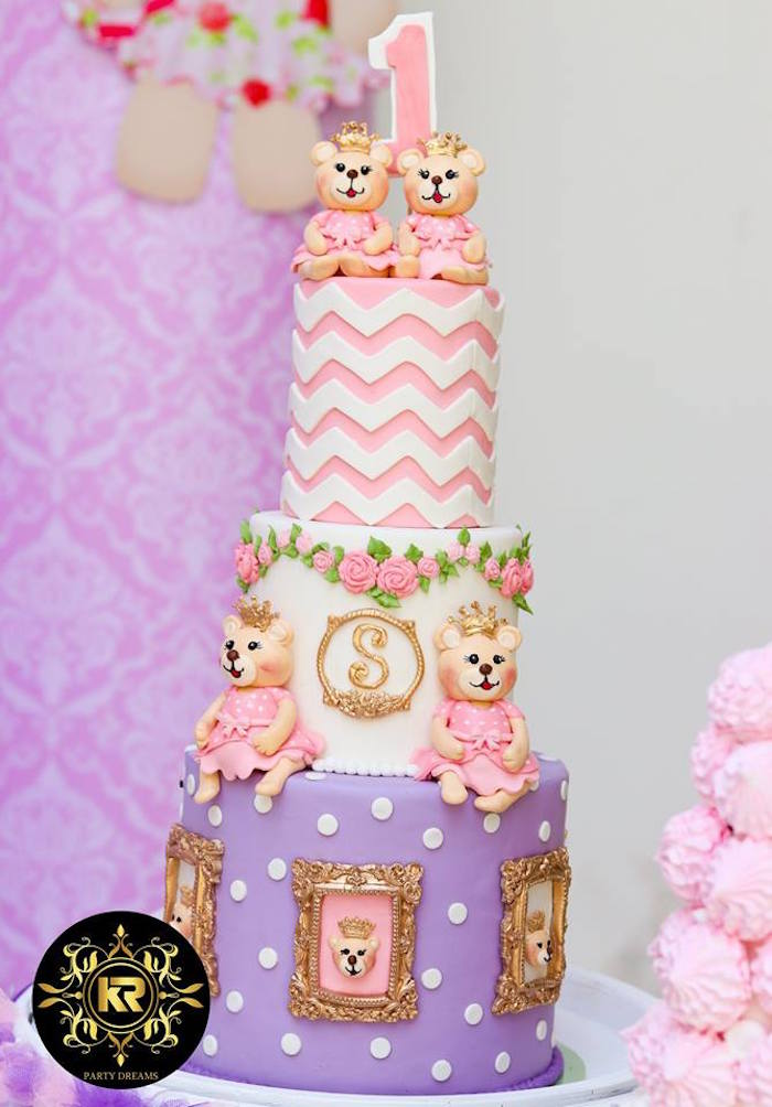 Teddy Bear Themed Birthday Cake from a Teddy Bear Princess Party on Kara's Party Ideas | KarasPartyIdeas.com (16)