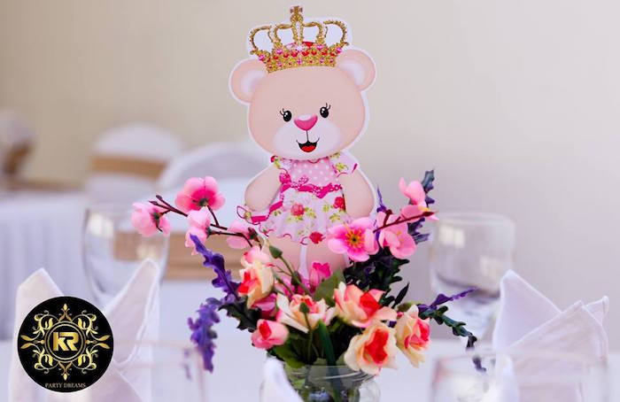 Teddy Bear Table Centerpiece + Florals from a Teddy Bear Princess Party on Kara's Party Ideas | KarasPartyIdeas.com (11)