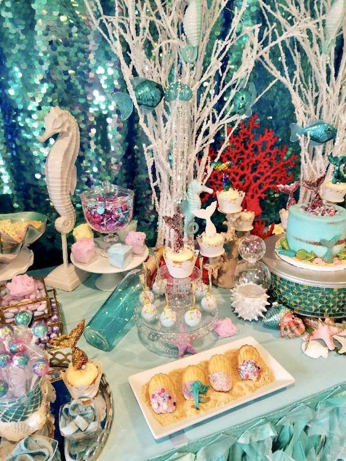 Under the Sea Dessert Table from an Under the Sea Birthday Party on Kara's Party Ideas | KarasPartyIdeas.com (7)