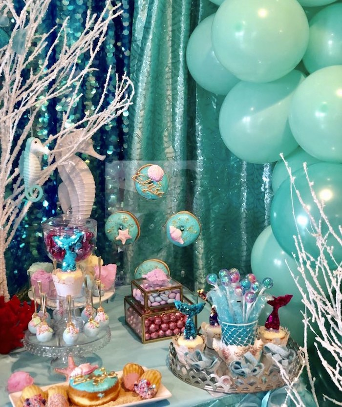 Under the Sea Dessert Table from an Under the Sea Birthday Party on Kara's Party Ideas | KarasPartyIdeas.com (15)