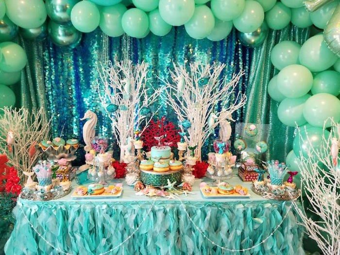 Under the Sea Dessert Table from an Under the Sea Birthday Party on Kara's Party Ideas | KarasPartyIdeas.com (10)