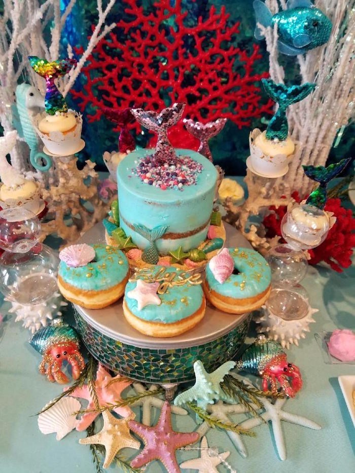 Under the Sea Cake + Donuts from an Under the Sea Birthday Party on Kara's Party Ideas | KarasPartyIdeas.com (9)