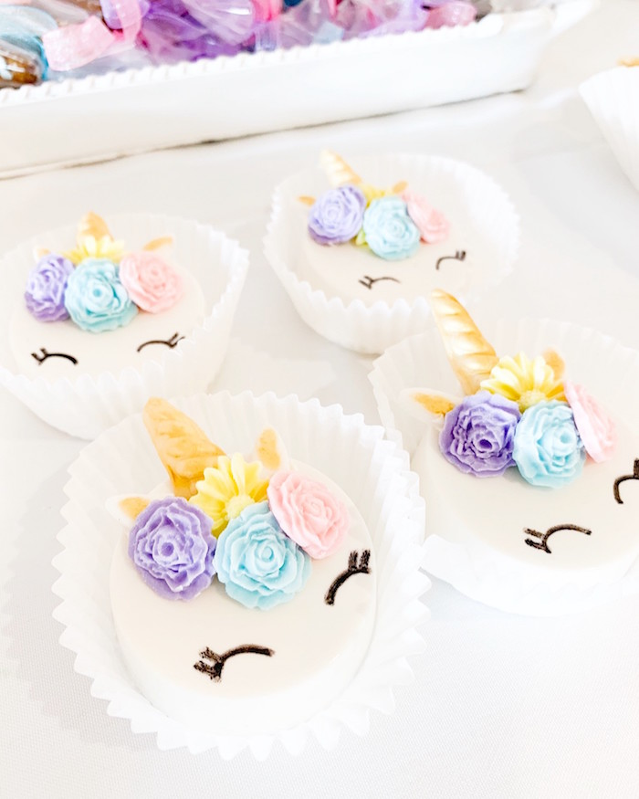 Unicorn Oreos from a Unicorn Baby Shower on Kara's Party Ideas | KarasPartyIdeas.com (8)