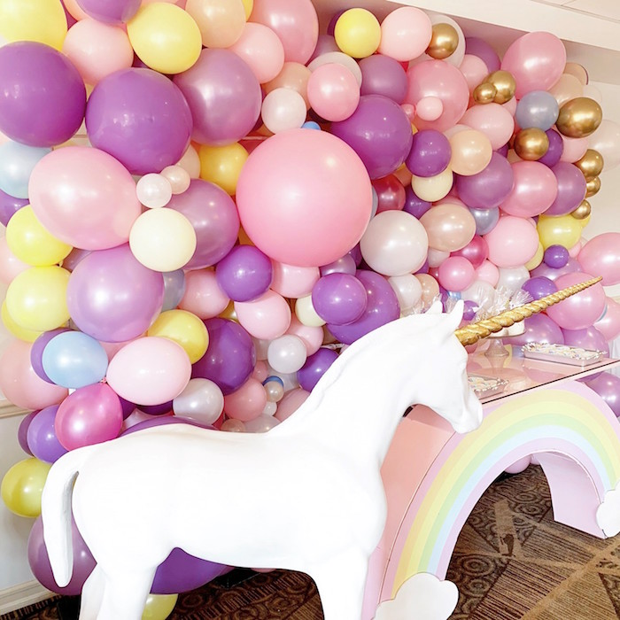 White Unicorn & Balloon Backdrop from a Unicorn Baby Shower on Kara's Party Ideas | KarasPartyIdeas.com (6)