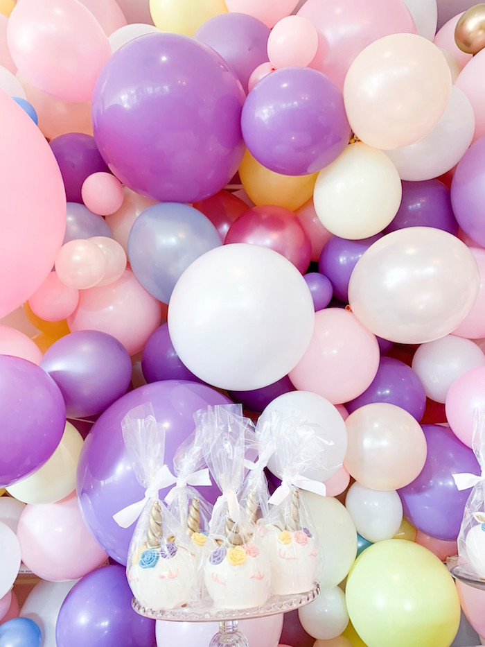 Balloon Backdrop from a Unicorn Baby Shower on Kara's Party Ideas | KarasPartyIdeas.com (4)
