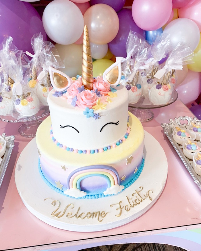 Unicorn Cake from a Unicorn Baby Shower on Kara's Party Ideas | KarasPartyIdeas.com (3)