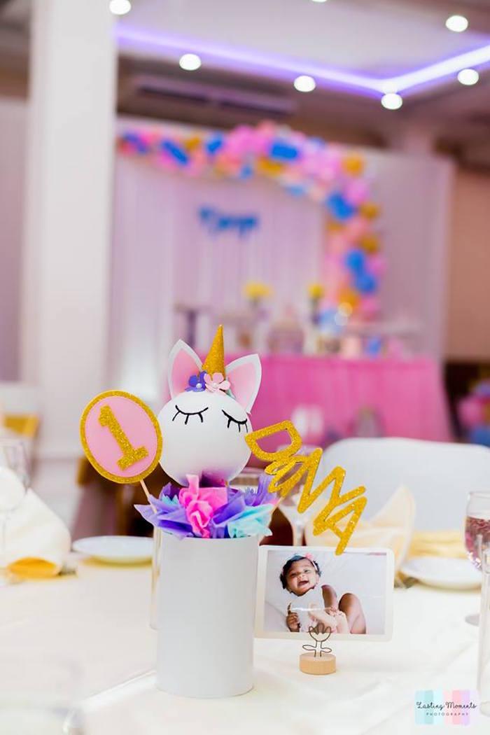 Unicorn Table Centerpiece from a Unicorn Birthday Party on Kara's Party Ideas | KarasPartyIdeas.com (16)