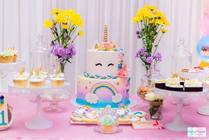 Unicorn Cake Table from a Unicorn Birthday Party on Kara's Party Ideas | KarasPartyIdeas.com (13)