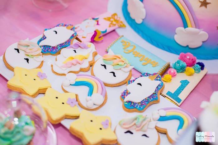 Unicorn-inspired Cookies from a Unicorn Birthday Party on Kara's Party Ideas   KarasPartyIdeas.com (12)