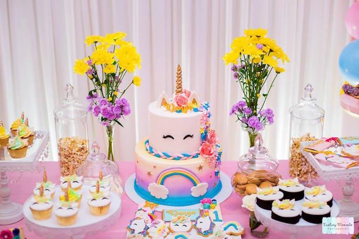 Unicorn Cake Table from a Unicorn Birthday Party on Kara's Party Ideas | KarasPartyIdeas.com (11)