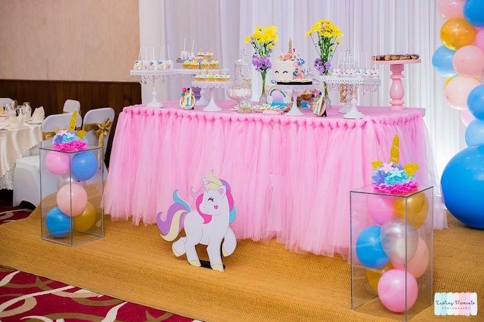 Unicorn Party Table from a Unicorn Birthday Party on Kara's Party Ideas | KarasPartyIdeas.com (10)
