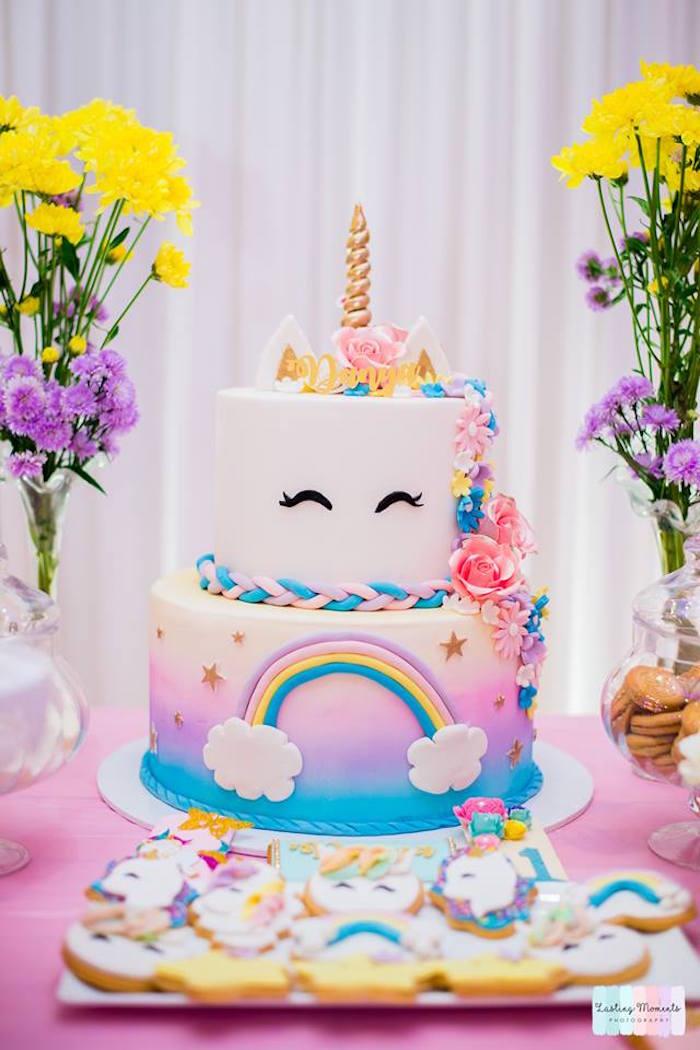 Unicorn Cake from a Unicorn Birthday Party on Kara's Party Ideas | KarasPartyIdeas.com (6)