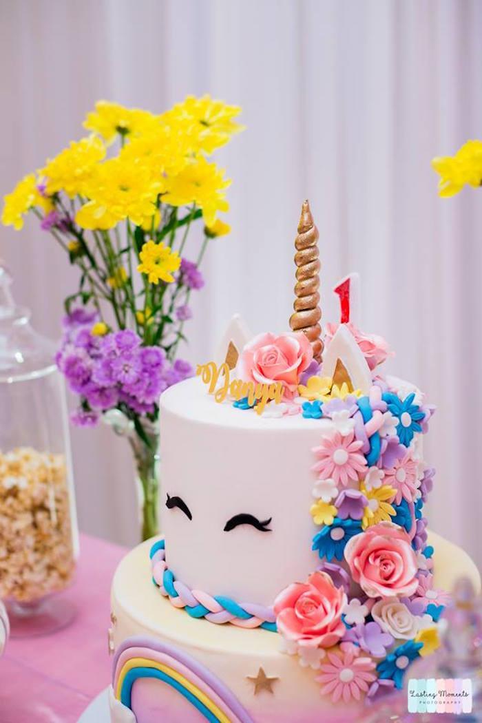 Floral Unicorn Cake from a Unicorn Birthday Party on Kara's Party Ideas | KarasPartyIdeas.com (25)
