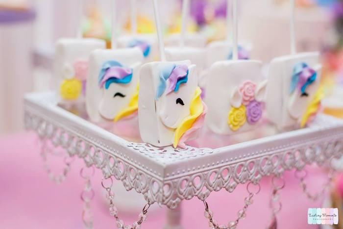 Unicorn Rice Krispie Treats from a Unicorn Birthday Party on Kara's Party Ideas | KarasPartyIdeas.com (23)