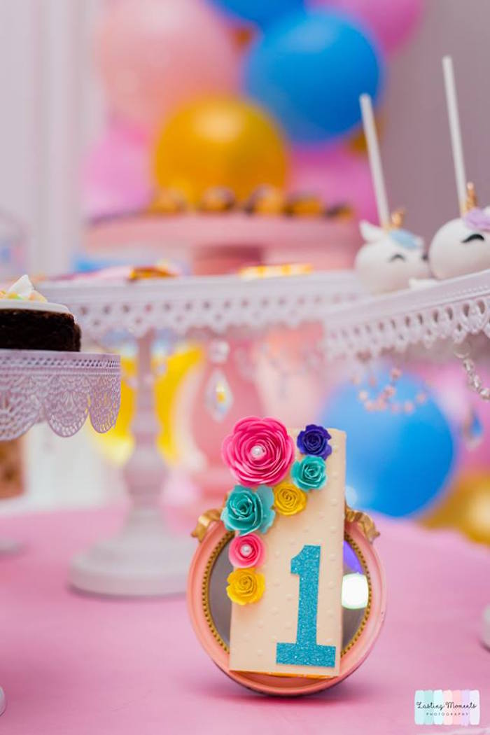 Flower-labeled Candy Bar from a Unicorn Birthday Party on Kara's Party Ideas | KarasPartyIdeas.com (22)