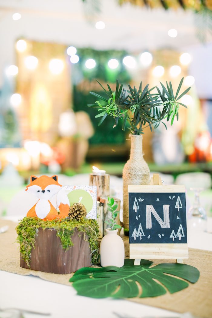 Woodland Party Table + Centerpieces from a Woodland 1st Birthday Party on Kara's Party Ideas | KarasPartyIdeas.com (16)