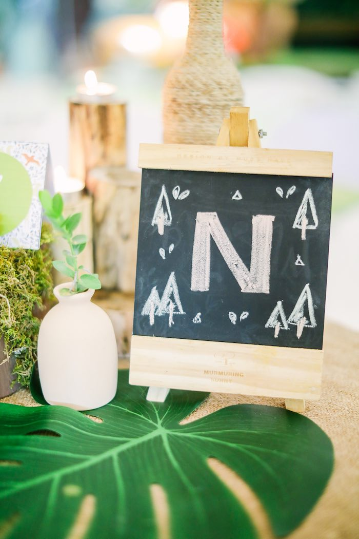 Mini Wooden Chalkboard from a Woodland 1st Birthday Party on Kara's Party Ideas | KarasPartyIdeas.com (15)