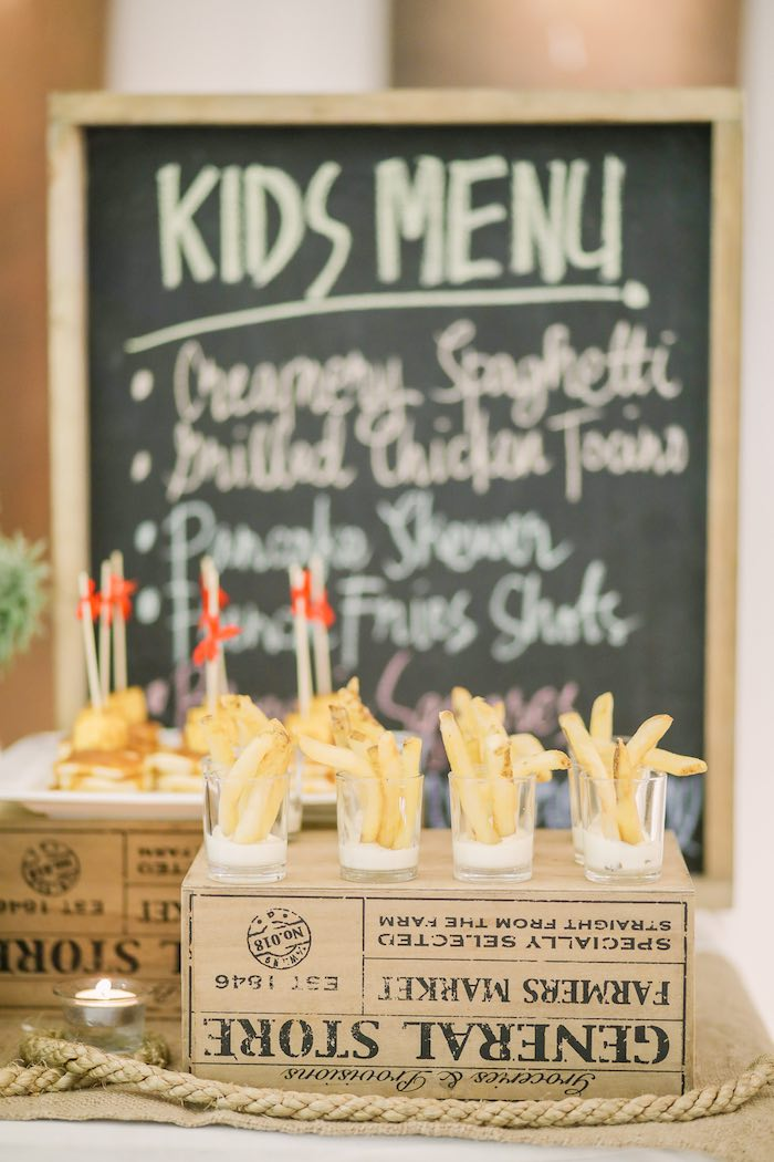 Food Table + Fries from a Woodland 1st Birthday Party on Kara's Party Ideas | KarasPartyIdeas.com (13)