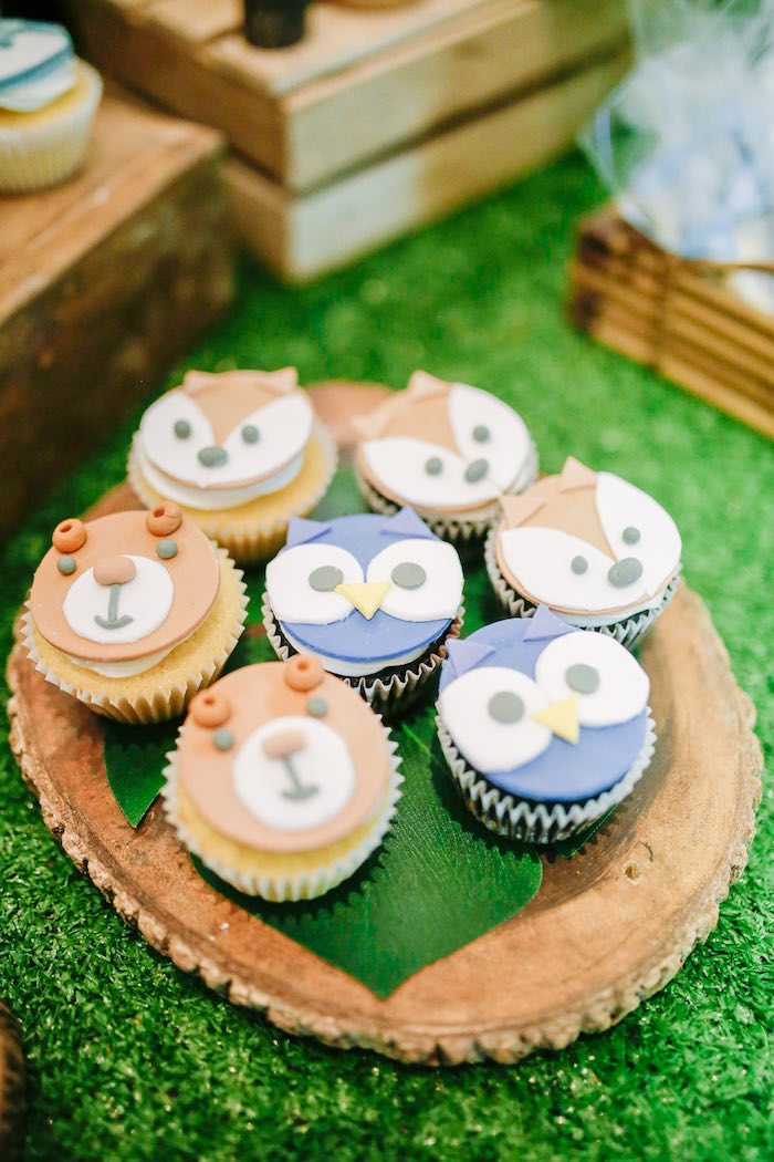 Woodland Animal Cupcakes from a Woodland 1st Birthday Party on Kara's Party Ideas | KarasPartyIdeas.com (12)