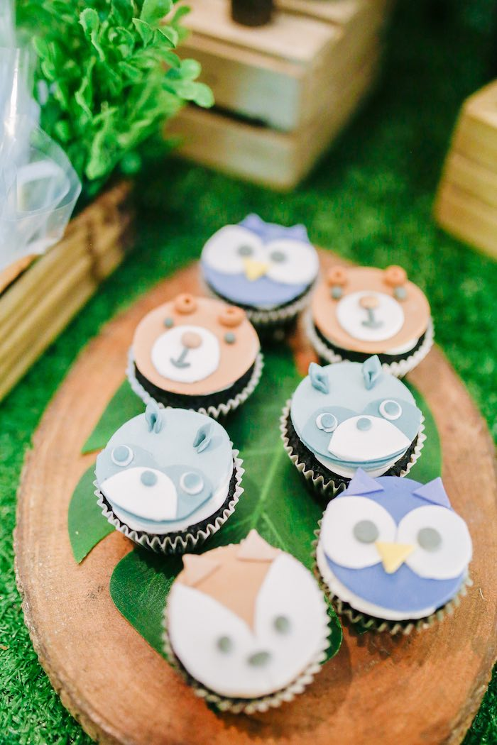 Woodland Animal Cupcakes from a Woodland 1st Birthday Party on Kara's Party Ideas | KarasPartyIdeas.com (11)