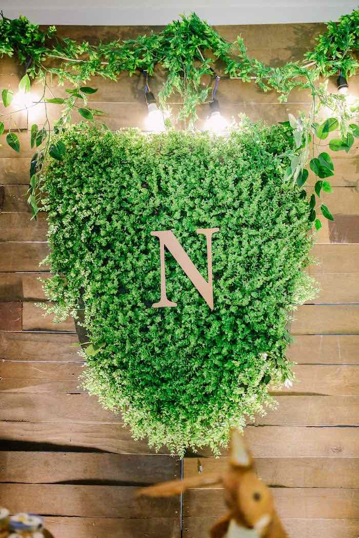 Greenery Backdrop Sign from a Woodland 1st Birthday Party on Kara's Party Ideas | KarasPartyIdeas.com (10)