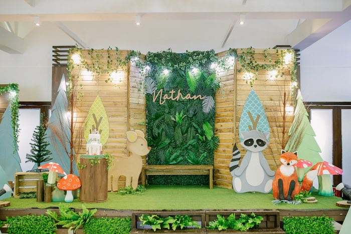 Woodland Themed Party Stage from a Woodland 1st Birthday Party on Kara's Party Ideas | KarasPartyIdeas.com (27)