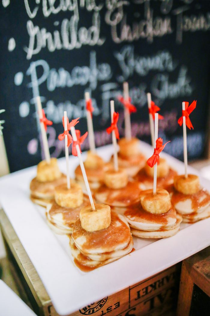 Pancake Stack Kabobs from a Woodland 1st Birthday Party on Kara's Party Ideas | KarasPartyIdeas.com (8)