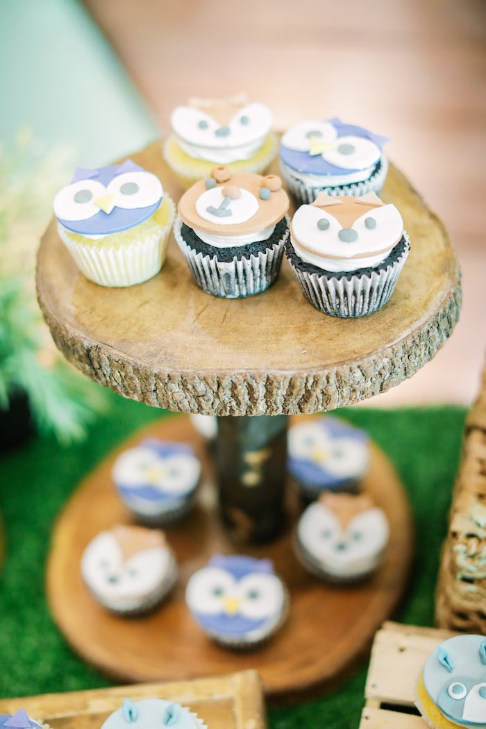 Woodland Animal Cupcakes placed on a Tree Dessert Pedestal from a Woodland 1st Birthday Party on Kara's Party Ideas | KarasPartyIdeas.com (5)