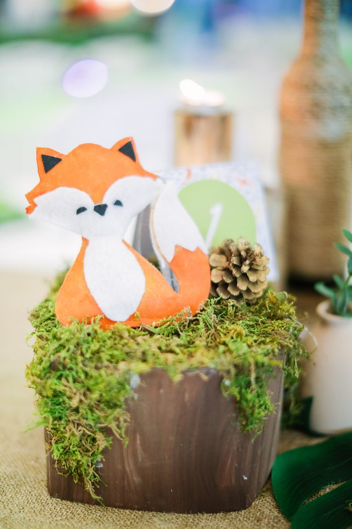 Woodland Fox Decoration from a Woodland 1st Birthday Party on Kara's Party Ideas | KarasPartyIdeas.com (2)