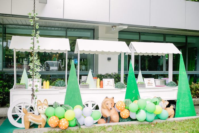 Woodland Food Carts from a Woodland 1st Birthday Party on Kara's Party Ideas | KarasPartyIdeas.com (25)