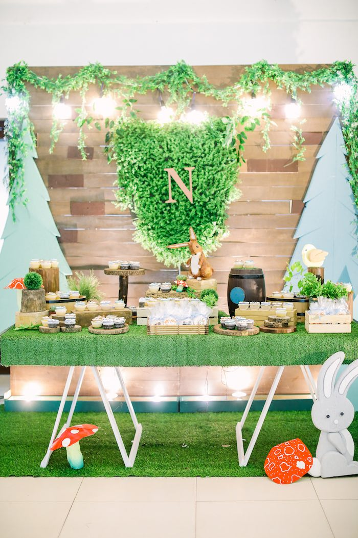 Woodland Themed Dessert Table from a Woodland 1st Birthday Party on Kara's Party Ideas | KarasPartyIdeas.com (24)