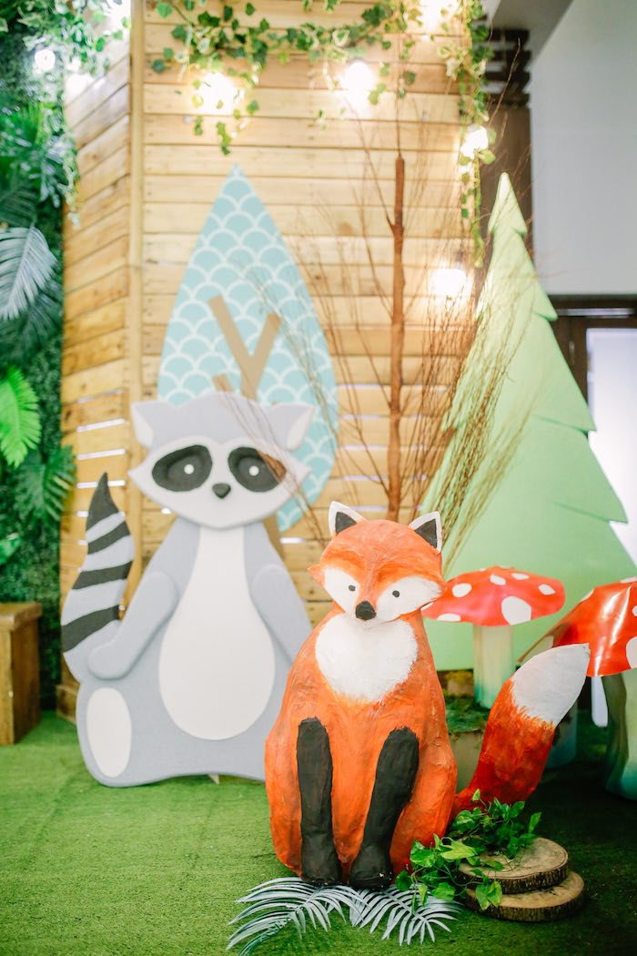 Woodland Animal Decorations from a Woodland 1st Birthday Party on Kara's Party Ideas | KarasPartyIdeas.com (23)