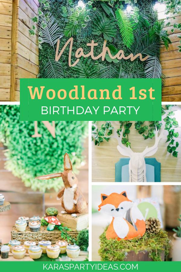 Woodland 1st Birthday Party via Kara's Party Ideas - KarasPartyIdeas.com