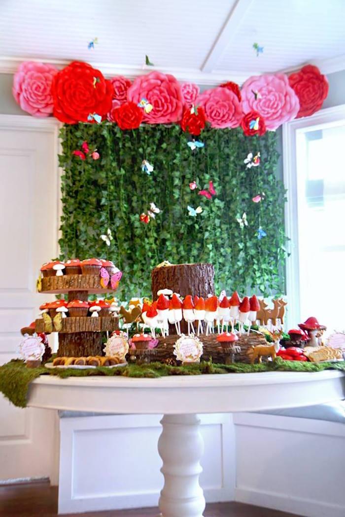 Woodland Themed Dessert Table from a Woodland Fairy Party on Kara's Party Ideas | KarasPartyIdeas.com (16)