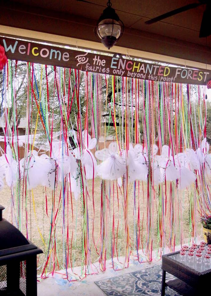 Fairy Favor Curtain from a Woodland Fairy Party on Kara's Party Ideas | KarasPartyIdeas.com (14)