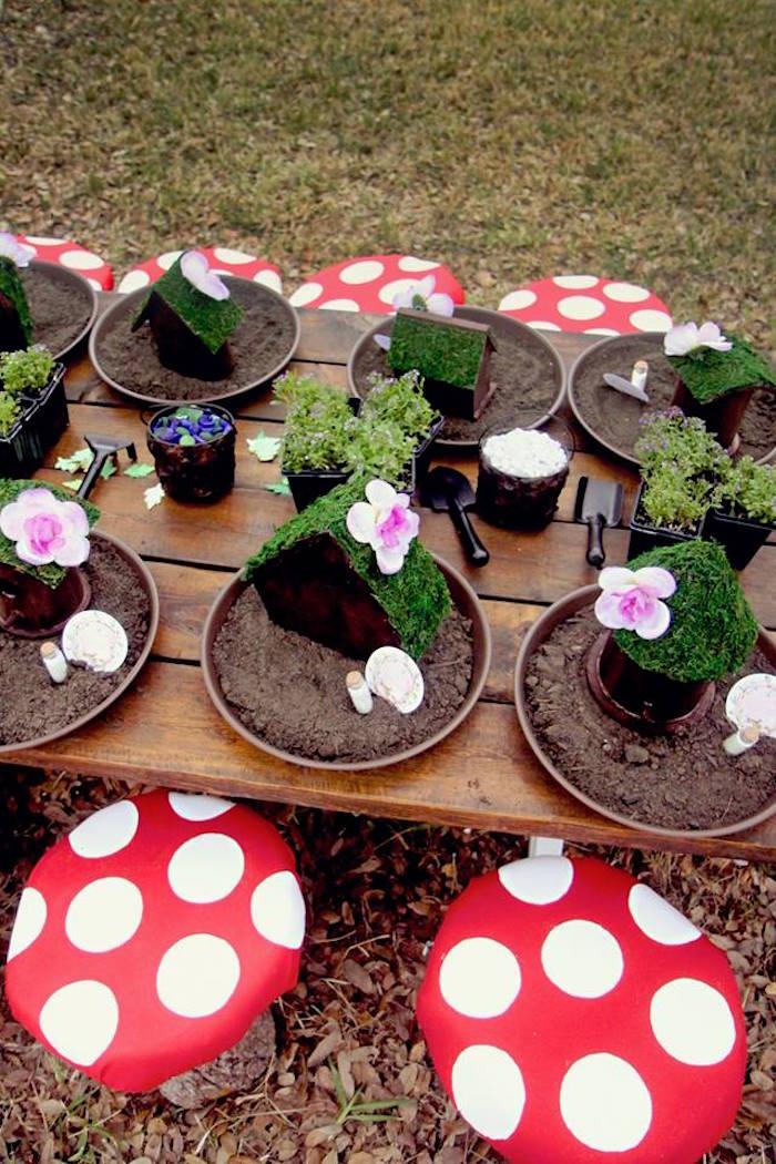 Fairy House Decorating Activity Table from a Woodland Fairy Party on Kara's Party Ideas | KarasPartyIdeas.com (12)