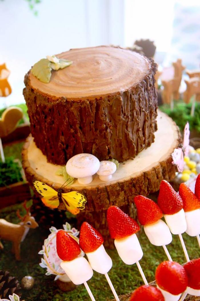 Tree Stump Cake from a Woodland Fairy Party on Kara's Party Ideas | KarasPartyIdeas.com (45)