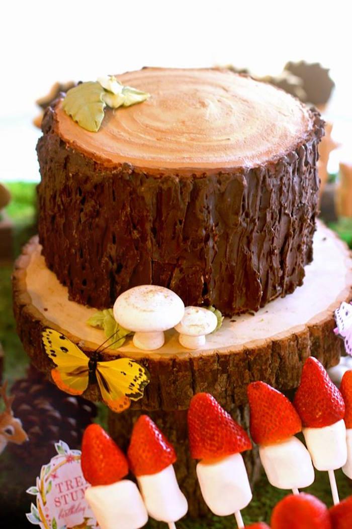 Tree Stump Cake from a Woodland Fairy Party on Kara's Party Ideas | KarasPartyIdeas.com (43)