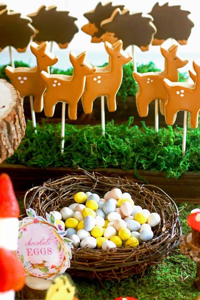 Deer Cookies + Bird Nest from a Woodland Fairy Party on Kara's Party Ideas | KarasPartyIdeas.com (42)