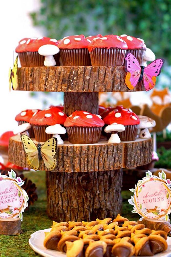 Chocolate Mushroom Cupcakes from a Woodland Fairy Party on Kara's Party Ideas | KarasPartyIdeas.com (41)