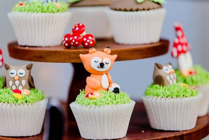 Woodland Animal Cupcakes from a Woodland Wonder Birthday Party on Kara's Party Ideas | KarasPartyIdeas.com (15)