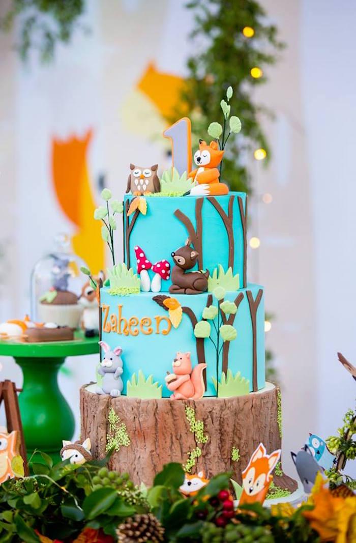 Woodland Animal Cake from a Woodland Wonder Birthday Party on Kara's Party Ideas | KarasPartyIdeas.com (14)
