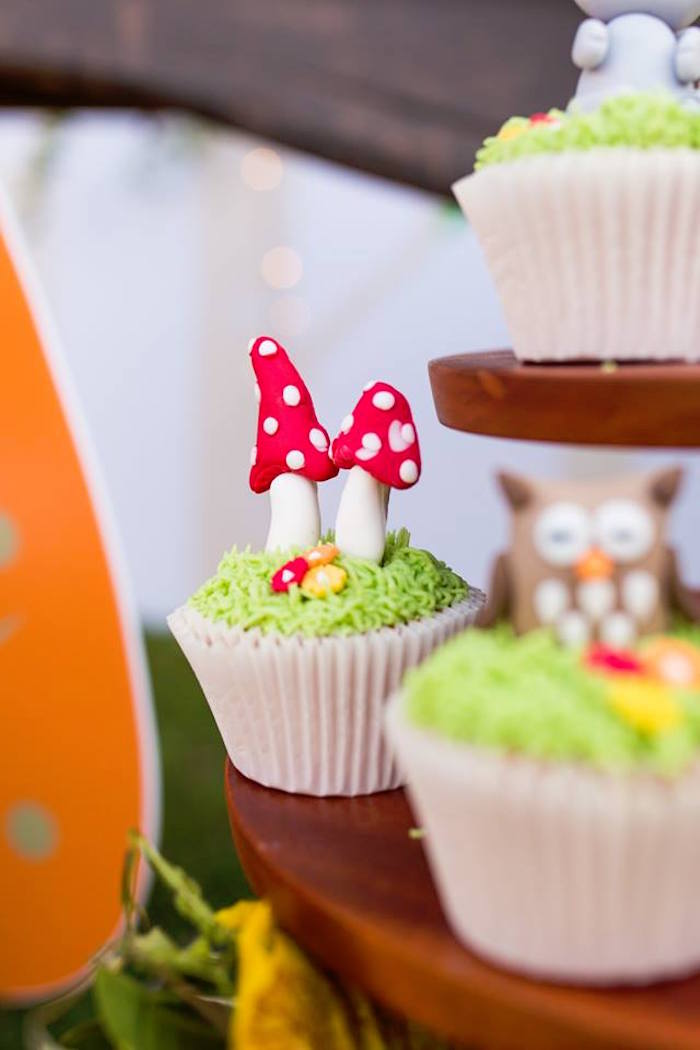 Toadstool-topped Cupcake from a Woodland Wonder Birthday Party on Kara's Party Ideas | KarasPartyIdeas.com (9)