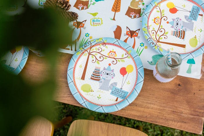 Woodland Animal Plates from a Woodland Wonder Birthday Party on Kara's Party Ideas | KarasPartyIdeas.com (6)