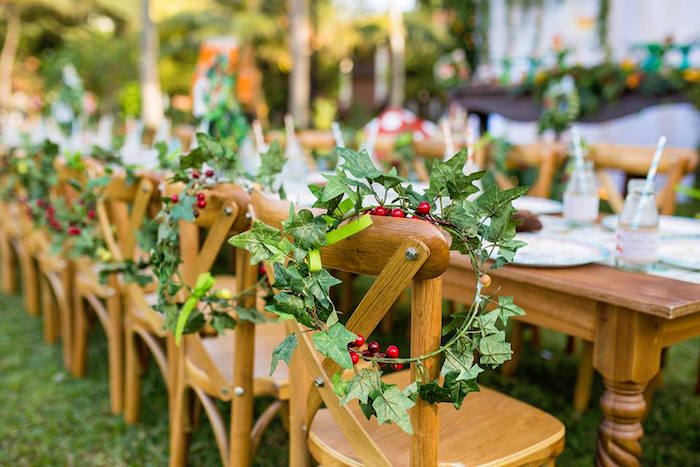 Ivy Crown + Wood Guest Table from a Woodland Wonder Birthday Party on Kara's Party Ideas | KarasPartyIdeas.com (5)