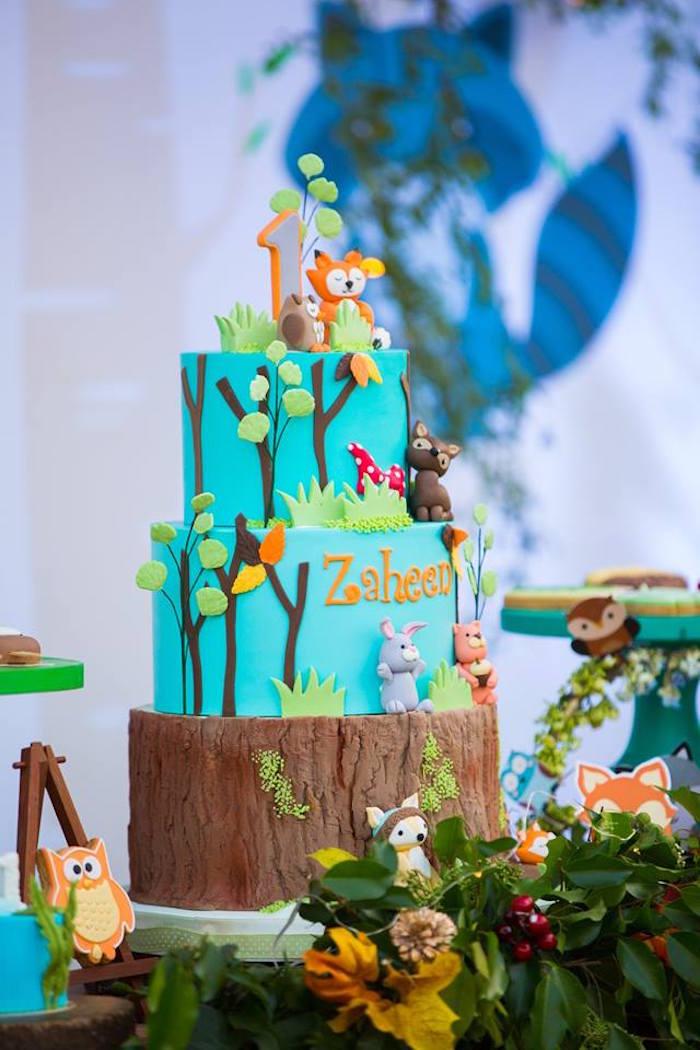 Woodland Animal Cake from a Woodland Wonder Birthday Party on Kara's Party Ideas | KarasPartyIdeas.com (20)