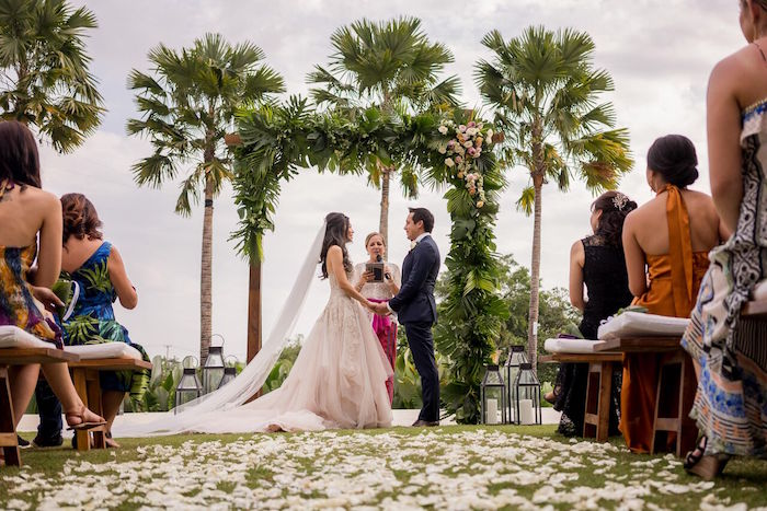 Tropical Wedding Arch for the I Do's from a Bali Destination Island Wedding on Kara's Party Ideas | KarasPartyIdeas.com