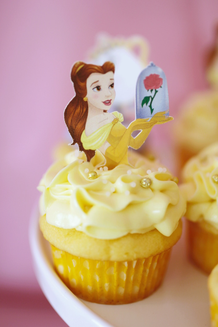 "Belle Cupcake from a ""Be Our Guest"" Beauty & the Beast High Tea on Kara's Party Ideas 