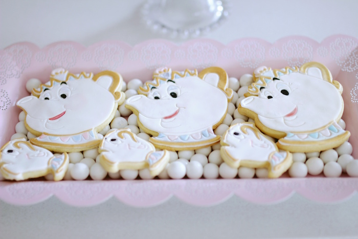 "Mrs. Potts & Chip Cookies from a ""Be Our Guest"" Beauty & the Beast High Tea on Kara's Party Ideas 