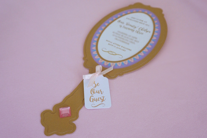 "Magic Mirror Party Invite from a ""Be Our Guest"" Beauty & the Beast High Tea on Kara's Party Ideas 